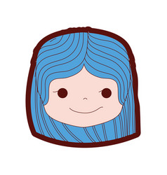 Line color girl head with hairstyle and rogue face vector