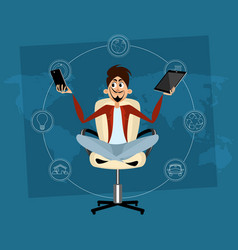man meditating in office vector image