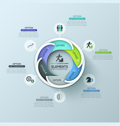 Modern circular infographic design layout with 6 vector