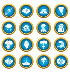natural disaster icons blue circle set vector image