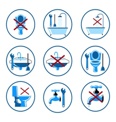 Plumbing icons set 2 vector image