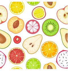 Seamless pattern fruits slice apple kiwi lemon vector