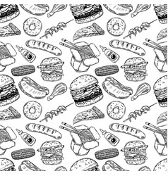 seamless pattern with hand drawn fast food burger vector image vector image