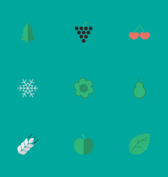 Set of simple garden icons elements wine sheet vector