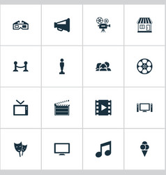 Set of simple movie icons vector