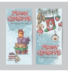 Set of vertical christmas cards with flashlights vector