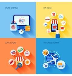 Shopping e-commerce icons set flat vector image vector image