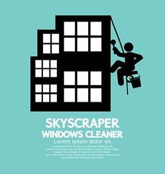 Skyscraper windows cleaner vector