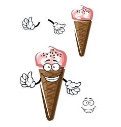 Strawberry ice cream in chocolate cone vector image