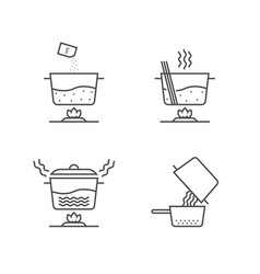 thin line cooking spaghetti in stages on white vector image