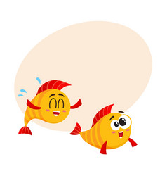 two funny smiling crazy golden fish characters vector image vector image