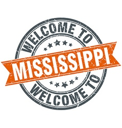 Welcome to mississippi orange round ribbon stamp vector