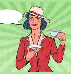 Woman drinking morning tea in cafe pop art vector