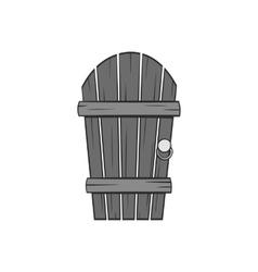 Wooden garden door icon black monochrome style vector