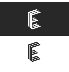 Logo E letter initial monogram emblem isometric vector image