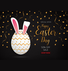 Happy easter day design gold egg banner and vector
