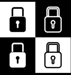 Lock sign   black and white vector