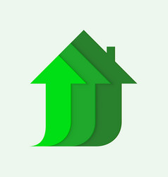 house icon with arrow up invest business sale vector image