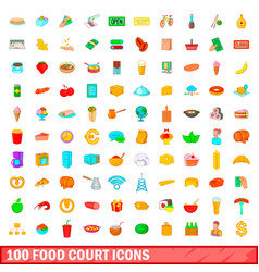 100 food court icons set cartoon style vector