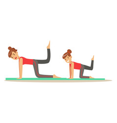 Smiling woman and girl doing fitness exercises on vector