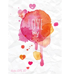 Watercolor love valentines day card vector
