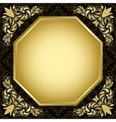 black vintage card with gold decorations vector image