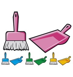dustpan and sweeping brush vector image