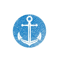 Anchor icon with hand drawn lines texture vector