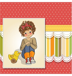Curly girl play with her duck toy vector