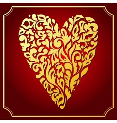 Gold lace ornamental heart greeting card vector
