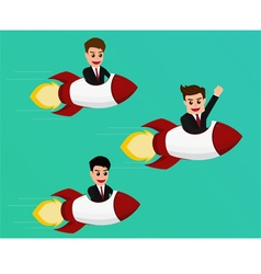 Businessman flying on a rocket start up to success vector image