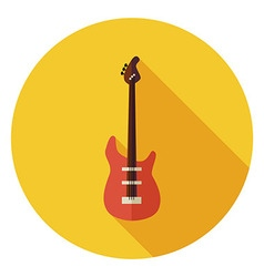 Flat string bass guitar circle icon with long vector