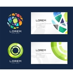 Business card template set globe and ring vector