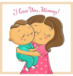 Mothers day greeting card with mother and child vector