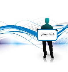 Young man with blank board vector