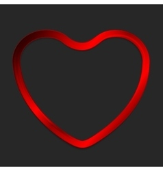 Red metal glow heart on dark background vector