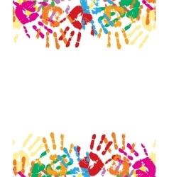 Colorful palm prints in bright colors vector