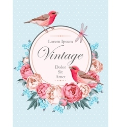 Beautiful vintage card with birds vector