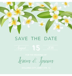 Wedding Invitation Card - with Tropical Flowers vector image