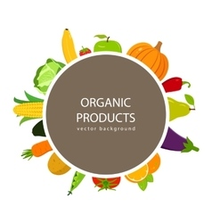 Fruits and vegetables background organic food vector