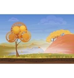 Cartoon nature autumn landscape in storm rainy vector