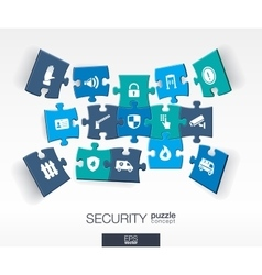 Abstract Security background with connected color vector image vector image