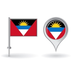 Antigua and Barbuda pin icon map pointer flag vector image