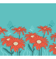 Background with red gerbera and butterflies vector