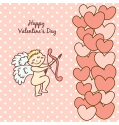 card Happy Valentines Day with Cupid vector image vector image