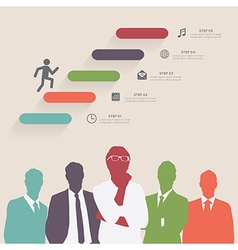 Colorful silhouette businessman with step icons vector image vector image