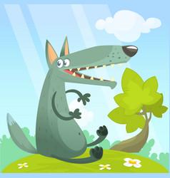 Cute cartoon wolf character vector