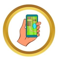 Hand with smartphone gps navigator icon vector