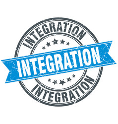 Integration round grunge ribbon stamp vector