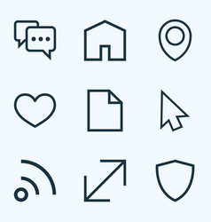 interface outline icons set collection of resize vector image
